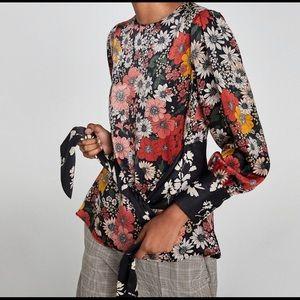 Zara Tie-Waist Floral Blouse